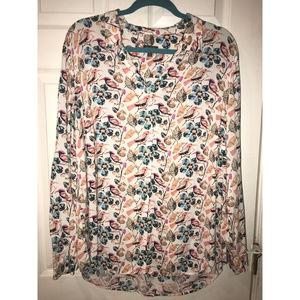 Pretty Patterned Women's Button Down Shirt, 1X